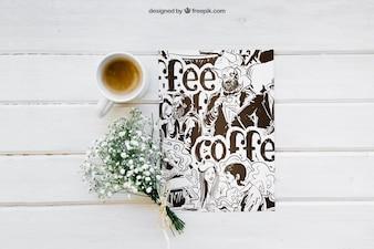 Prima colazione mockup con carta e caffè
