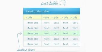 pulita tabella di confronto semplice psd