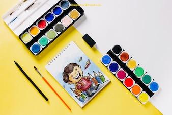 Torna a scuola mockup colori della vernice