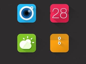 App-Symbole mit langen Schatten
