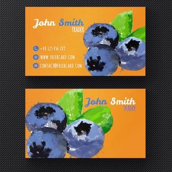 Aquarell Schlehe Visitenkarte Vorlage