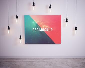 Bild an der Wand mit Blasen Lichter mock up