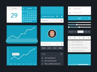 Blau ui Kit flaches Design