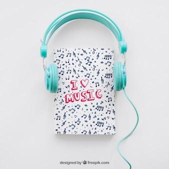 Buch-Cover-Vorlage mit Kopfhörern