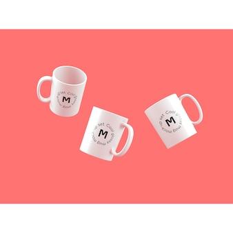 Drei Tassen auf rosa Hintergrund mock up