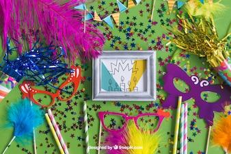 Geburtstag Mockup Design mit Partyartikel