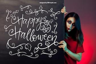 Halloween-Mockup mit Mädchen hinter dem Brett