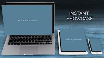 Laptop, ipad und mobile mock up