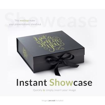 Schwarze Geschenkbox mock up