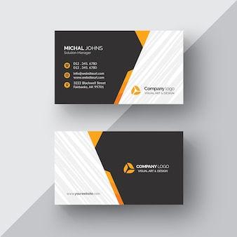 Schwarze Visitenkarte mit orange Details