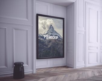 Schwarzer Rahmen auf weiße Wand mock up