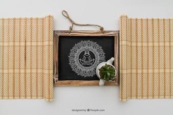 Tafel umrahmt von Bambuskarren