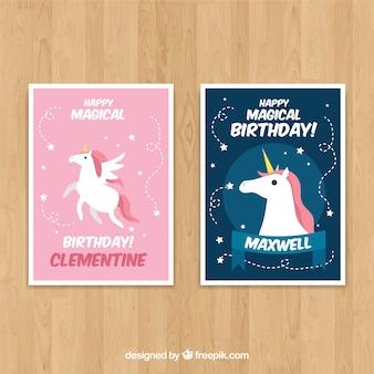 2 cartes d'anniversaire avec des licornes