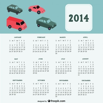 2014 voitures de conception de calendrier