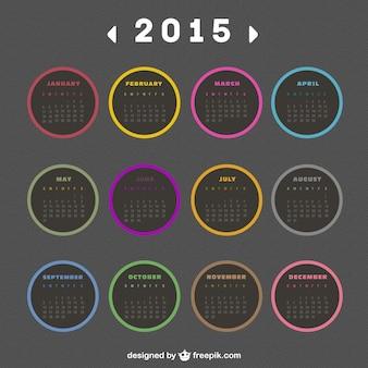 2015 calendrier avec des étiquettes rondes