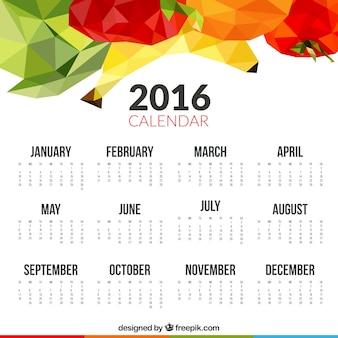 2016 calendrier avec des fruits polygonales