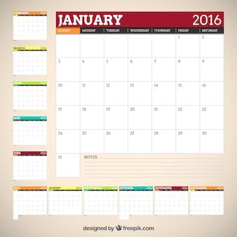 2016 calendrier des couleurs