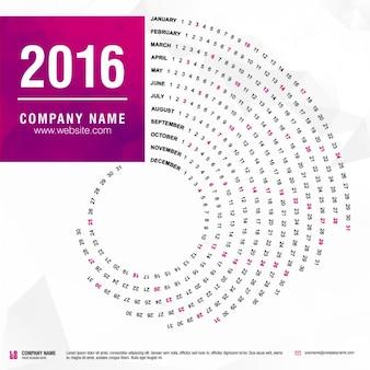 2016 calendrier mis en forme de spirale