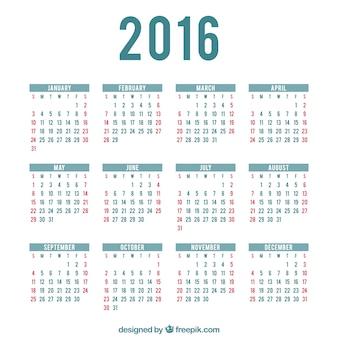 2016 modèle de calendrier