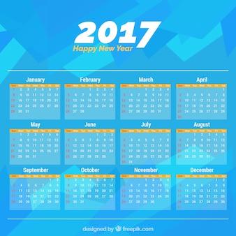 2017 abstrait bleu calendrier