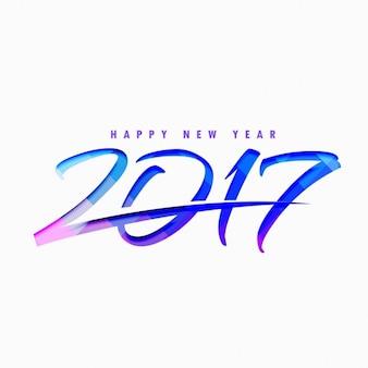 2017 style de texte avec des formes abstraites bleu