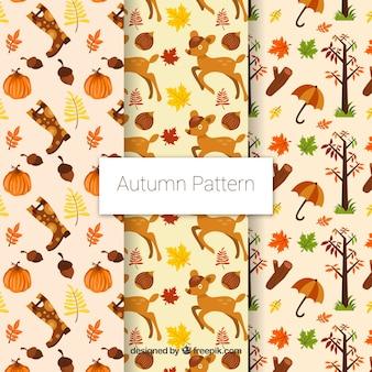 3 motifs mignons avec des articles d'automne