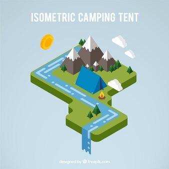 3D tente de camping dans un paysage