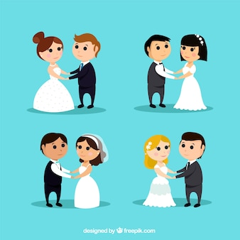 4 couples de mariage mignon, style hippie