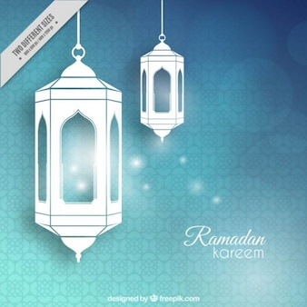 Abstrait arrière-plan brillant avec des lanternes ramadan