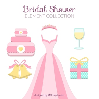 Accessoires douche nuptiale plats aux couleurs pastel
