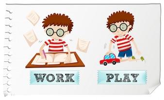 Adjectifs opposés avec un garçon travaillant et jouant