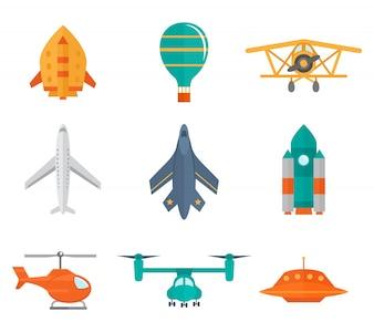 Aéronefs, icônes, plat, ensemble, espace, fusée, hélice, avion, ufo, isolé, vecteur, illustration
