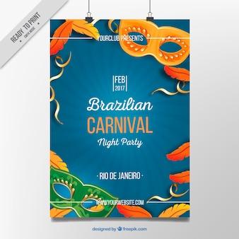 Affiche avec des éléments typiques du brésil carnaval