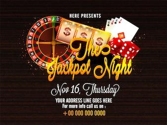 Affiche Casino Jackpot Night, bannière avec divers éléments.