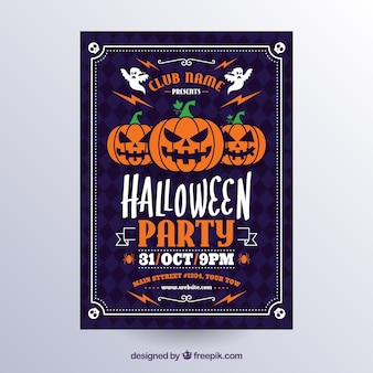 Affiche classique de Halloween avec des citrouilles