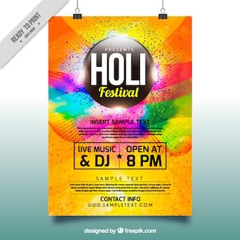Affiche colorée de partie pour le festival de Holi
