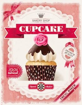 Affiche de boulangerie de confiserie avec des cupcakes