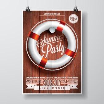 Affiche de fête d'été avec design de bateau