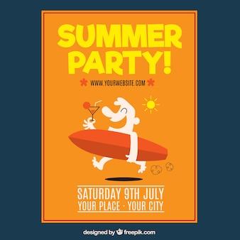 Affiche de fête d'été avec personnage et planche de surf