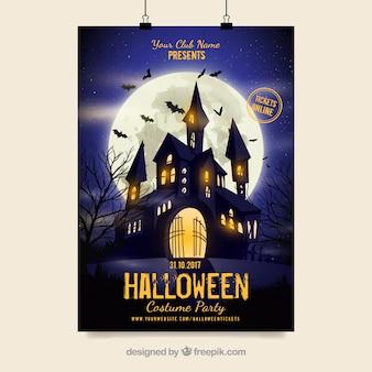 Affiche de fête d'Halloween avec le château
