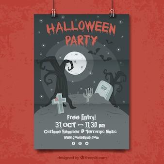 Affiche de fête de Halloween au cimetière