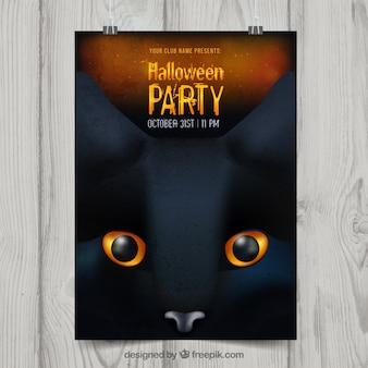 Affiche de fête de Halloween avec chat noir