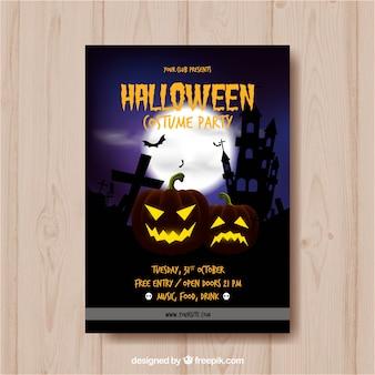 Affiche de fête de Halloween avec des citrouilles