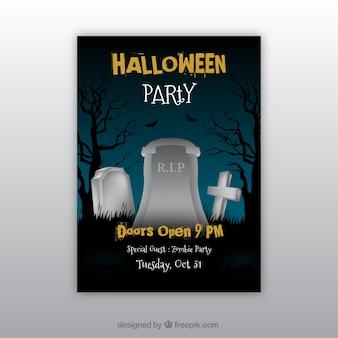 Affiche de fête de Halloween avec des pierres tombales