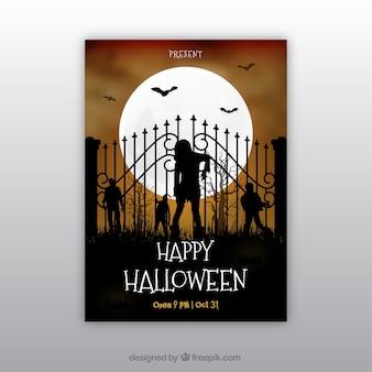 Affiche de fête de Halloween avec des zombies