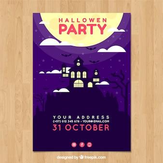 Affiche de fête de Halloween avec maison hantée