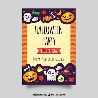 Affiche de fête de Halloween avec un style amusant