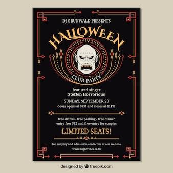 Affiche de fête de Halloween avec visage zombi
