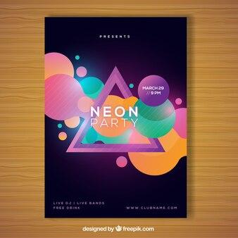 Affiche de fête géométrique avec style néon