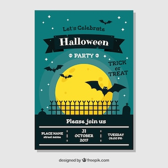Affiche de Halloween avec des chauves-souris dans la nuit